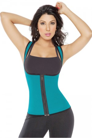 Reversible Zipper Green Plus Size Girdles Shapewear Vest