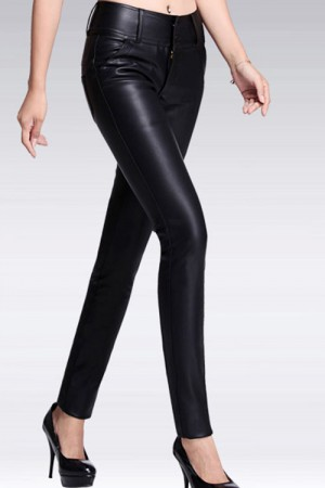 High Wauist PU Leather Pencil Pants