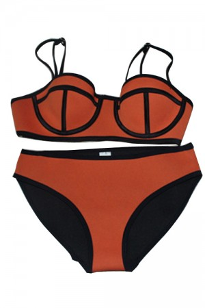 Sexy Orange Neoprene Patchwork Swimwear Bikini