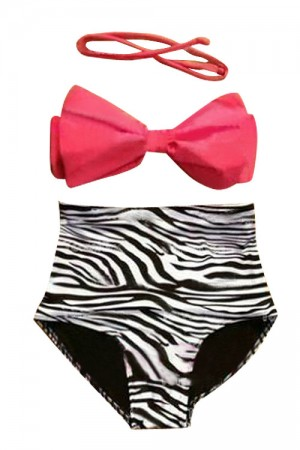 Bewitching High Rise Bathing Suit Zebra Bottom Red Bra