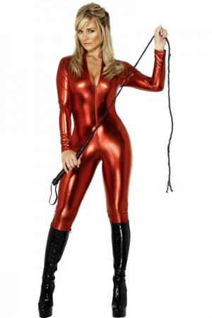Cheap Lady Sexy Red Long Sleeve Leather Catsuit Vinyl Lingerie