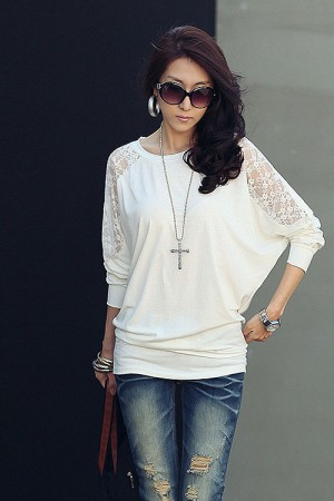 White Bat Sleeve Chiffon Blouse