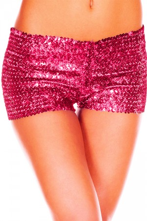 Rose Red Sexy Woman Sequins Shorts