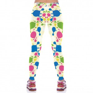 Women Chic Colorful Block Printed Workout Leggings