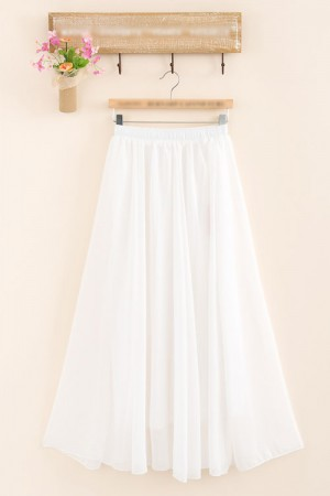 Solid White Chiffon Skirt