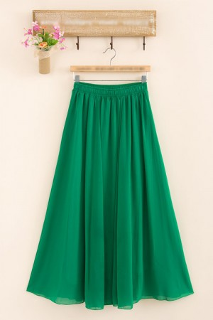 Plain Green Chiffon Skirt