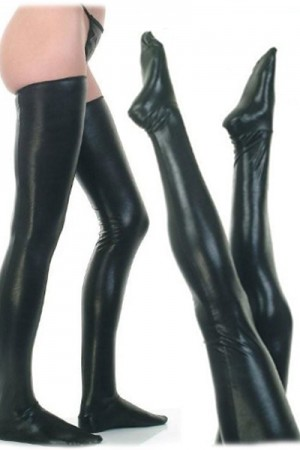 2PC Sexy Black PVC Stockings