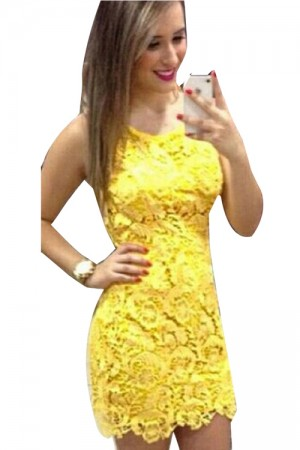 Summer Yellow Mini Sleeveless Cheap Lace Dress For Women