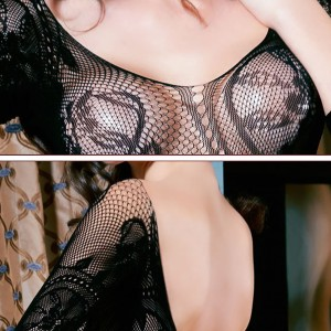 Black Fishnet Body Stocking Deep V-neck Open Crotch Floral Pattern Sheer Catsuit