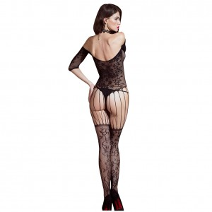 Enchanting Black Strapless Whole Body Fishnet Stocking Lace Body lingerie