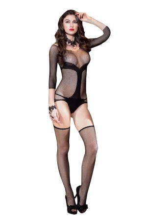 Black Womens Sexy Body Stocking Netted Bodysuit