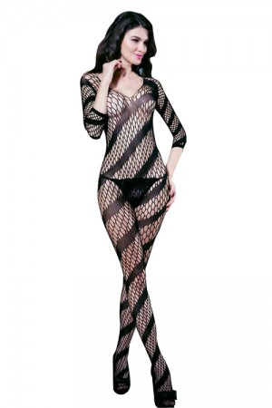 Black Twill Deep V-neck Bodystocking Lingerie Open Crotch Lace Body Lingerie