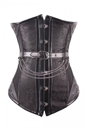 Noble Black Jaquard Steampunk Corsets 14 Steel Boned Waist Training Corset With Chains