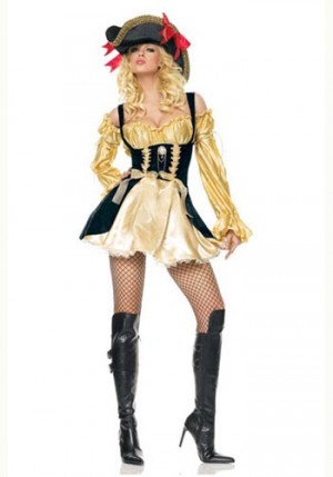 Elaborate Gold Renaissance Pirate Costume Ruffled Trim