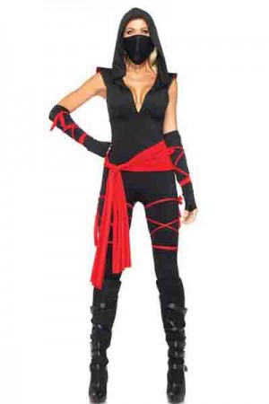 Deadly Ninja Costume Black V Neck Attached Hood