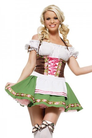 Vivid Halter Neck Corset German Beer Maiden Costume