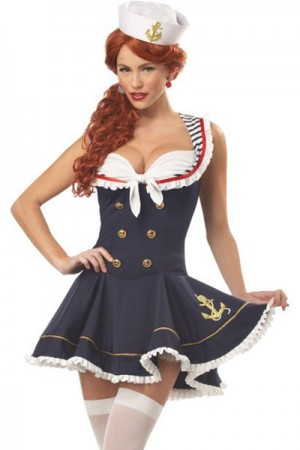 Charming Sweetheart Buttons Halloween Sailor Dress Up Costumes