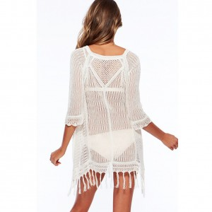 White Hollow Out Half Sleeve Tassel Mini Sexy Beach Dress