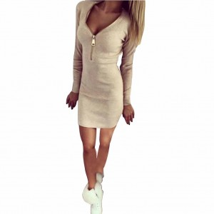 Long Sleeve Bodycon Dress Apricot Zipper Closure Fashion Mini Dress