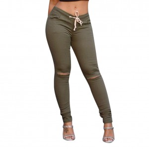 Fashion Green Casual Legging For Women