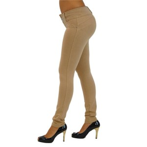 Skinny Shaping Effect Button Khaki Bottom Enhancing Pants