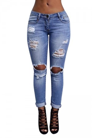 Hot Sale Women Light  Blue Jeans