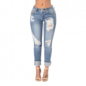 Casual Worn Out Regular Rise Light Blue Jeans Trousers