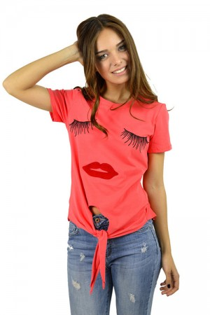 Eye Catching Asymmetric Hem Short Sleeve Blouse