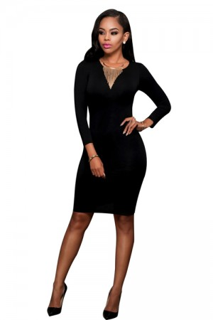 Edgy Cut Out Back Long Sleeve Black Bodycon Dress