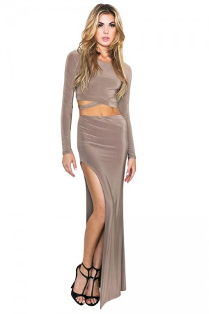 Daring Scoop Neck High Waist Bodycon 2 Piece Dress