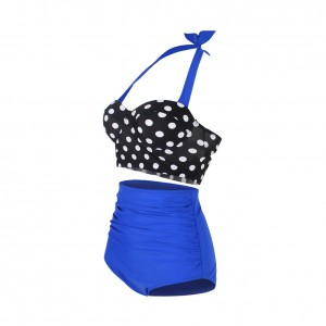 Brilliant Retro Swimwear High Waisted Large Size Self Tie