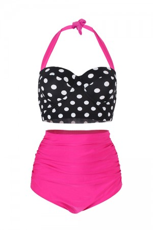 Charming Retro High Waisted Bikini Halter Plus Size