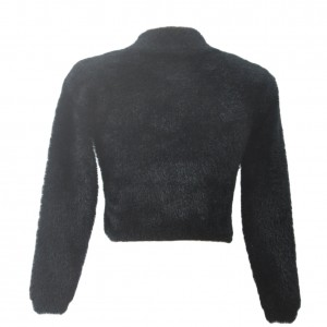 Fluffy Black Cropped Sweater Rise Neck Long Sleeve