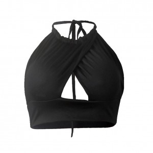 Fetching Black Crop Top Bustier Cross Front Backless