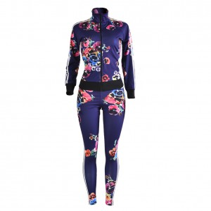 Skinny 2 Piece Tracksuits Printed Zipper Long Sleeve