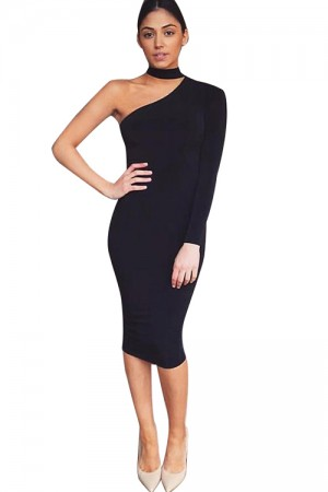 Asymmetric Black Strapless Bodycon Dress Pencil Midi