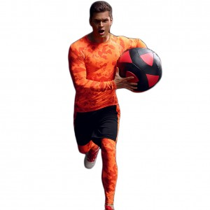 Compression Orange Camouflage Sweatshirts For Men Sports
