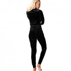 Edgy Casual Zipper 2 Piece Black Velour Sweatsuit Joggers