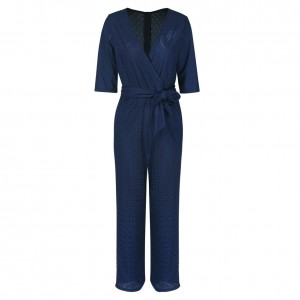 Minimalist Waist Belt Blue Wide Leg Jumpsuit 3/4 Sleeve