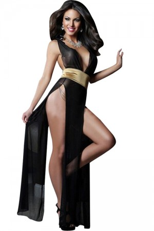 Backless Open Bra Slit Robe with G-string