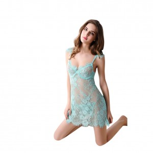 Light Green Women Lady Pajama Sexy Lingerie Transparent Underwear Two Pieces