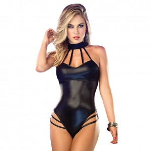 Sexy Black Faux Leather Bodysuit Lingerie Halter Neck
