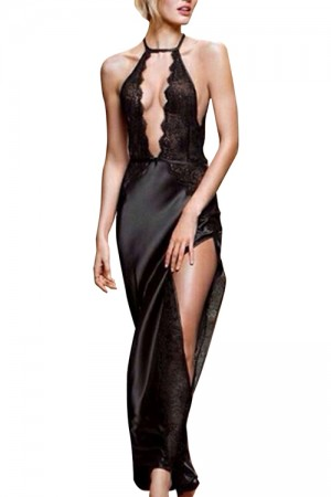 Deep V Neck Sexy Hater Sleeveless Black Long Gown