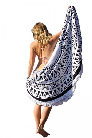 Triangle Printed Beach Cover Up