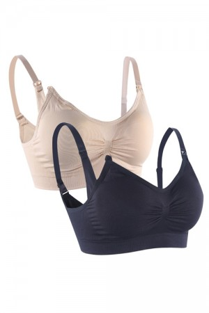 Breathable 2 Pieces Nude And Black Wireless Maternity Bra