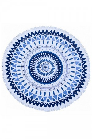 Blue Mandala Beach Throw Tapestry