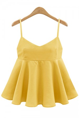 Luxurious Stylish V Neck Peplum Plus Yellow Tank Top Shirts