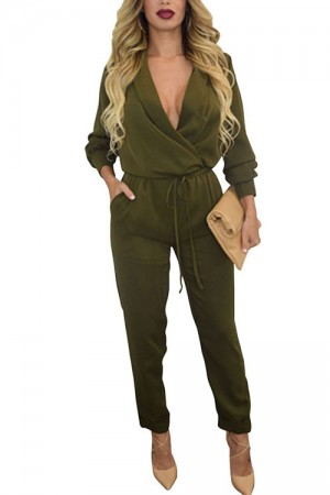 Gorgeous Deep V Neck Waist Tie Long Sleeve Jumpsuit Pants