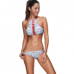 Frisky Printed Front Cut Out Plus Halter Top Bathing Suits