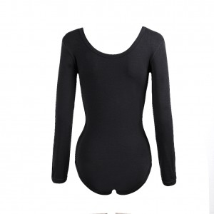 Fabulous Fit Low Necked Long Sleeve Black Bodysuit